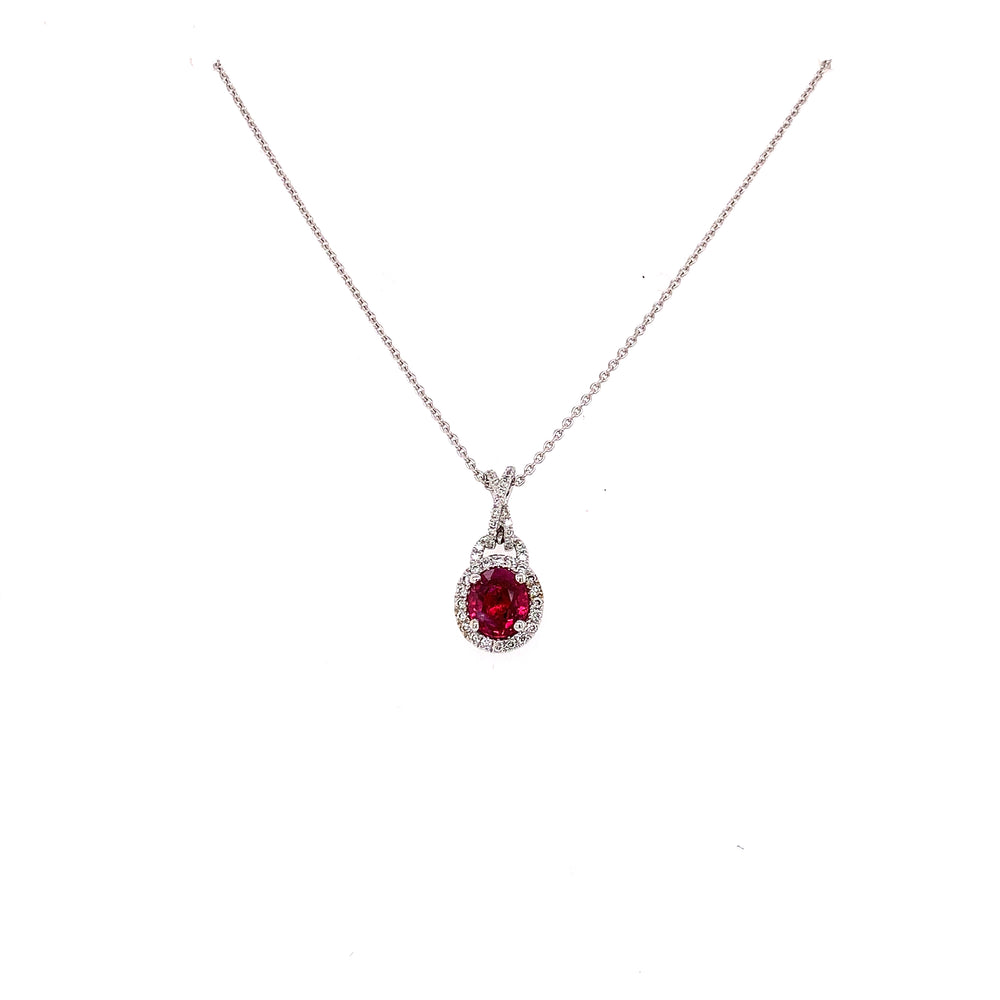 Oval Ruby and Diamond Criss Cross Pendant