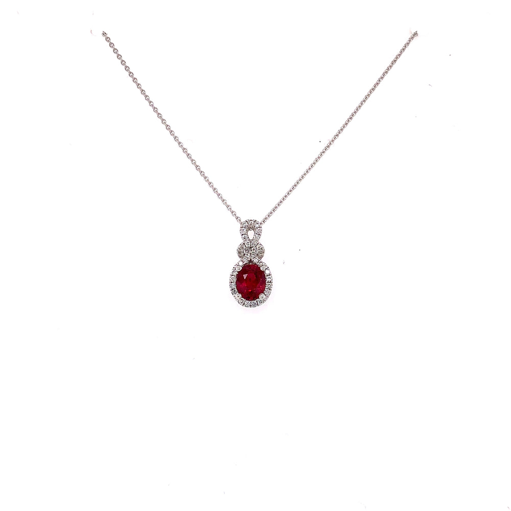Oval Ruby and Diamond Love Knot Pendant