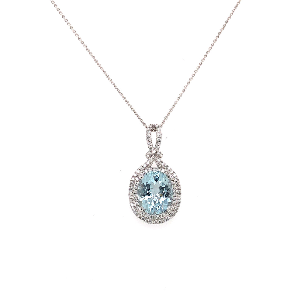 2.90CT Oval Aquamarine and Diamond Necklace