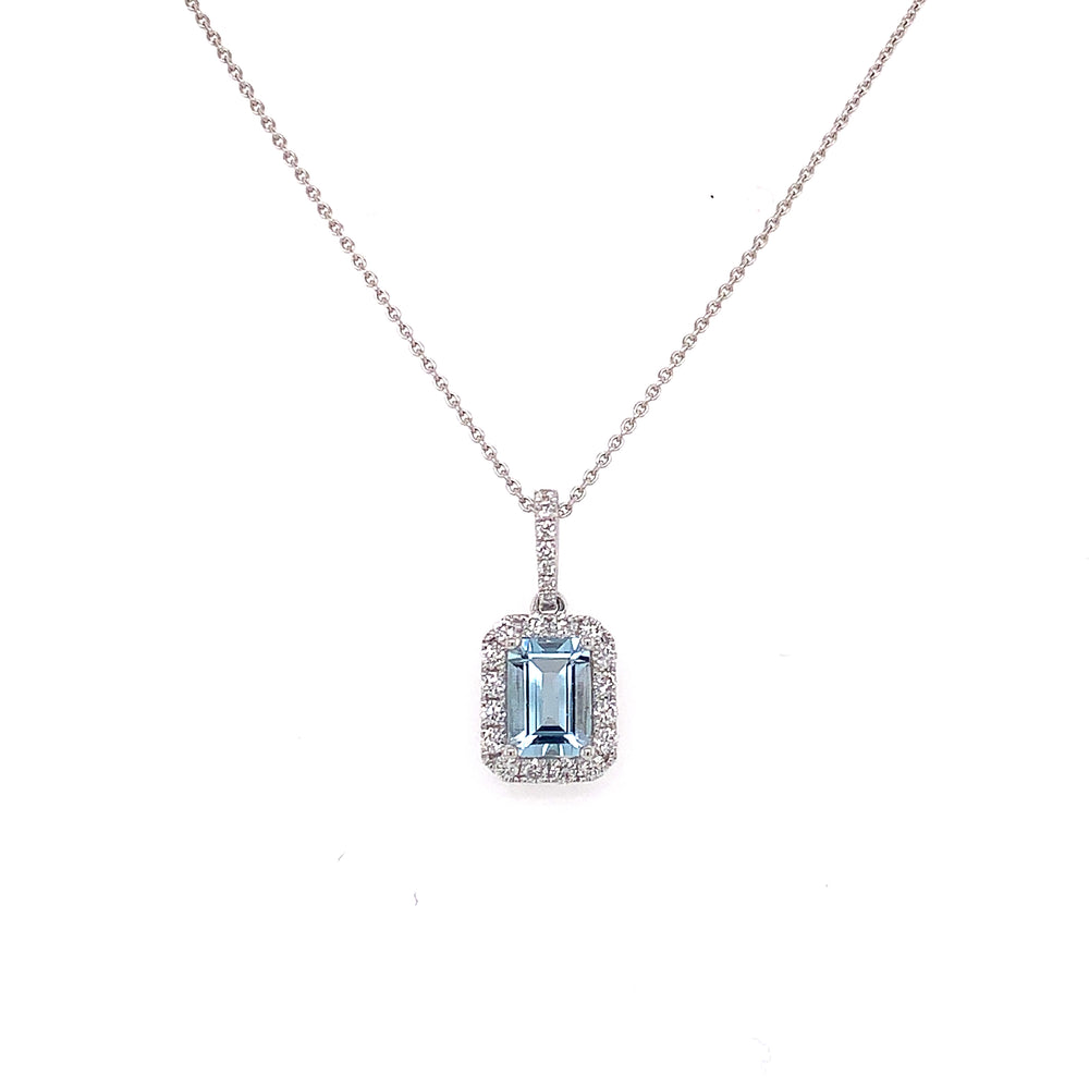 .96CT Emerald Cut Aquamarine and Diamond Necklace