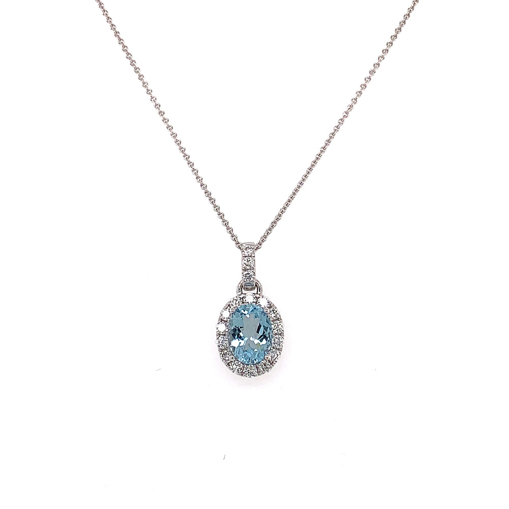 1.09CT Oval Aquamarine and Diamond Necklace