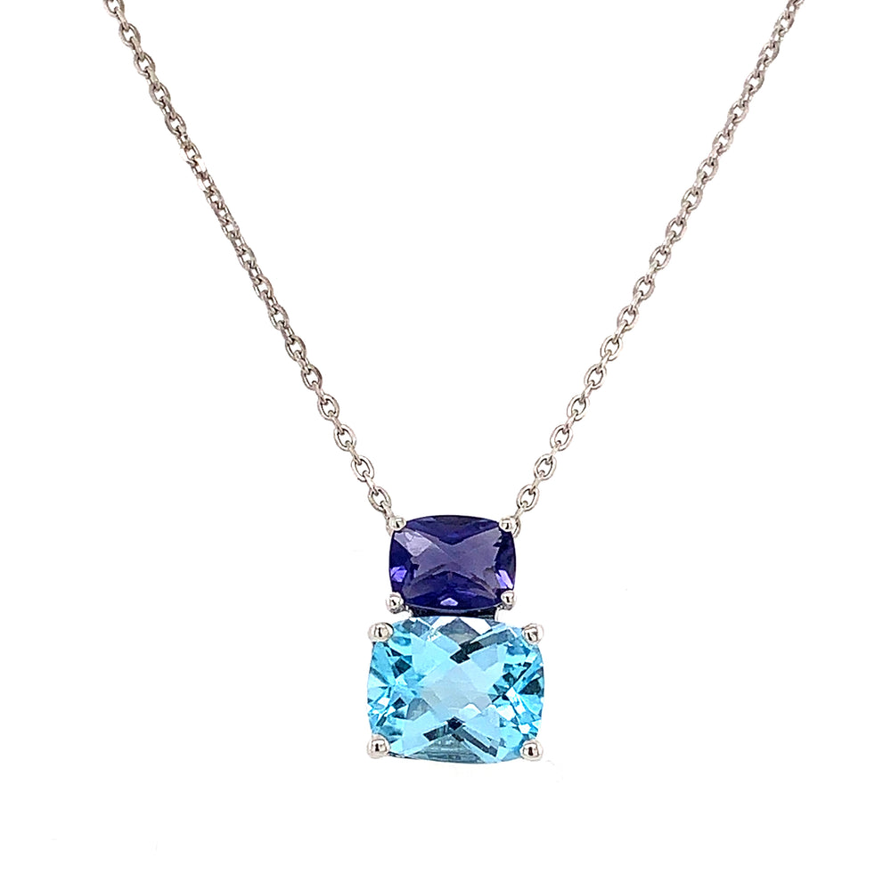 14K White Gold Blue Topaz and Iolite Necklace
