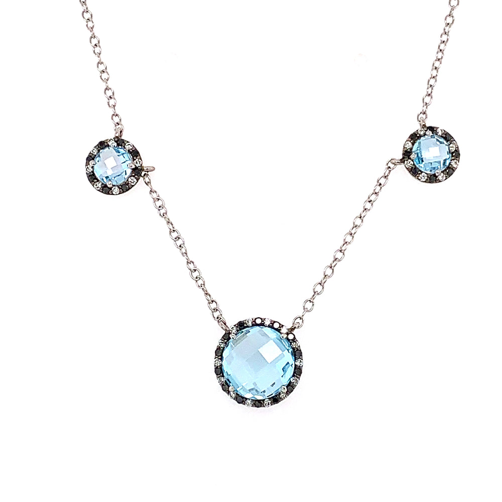 Blue Topaz and White/Black Diamond Halo Necklace