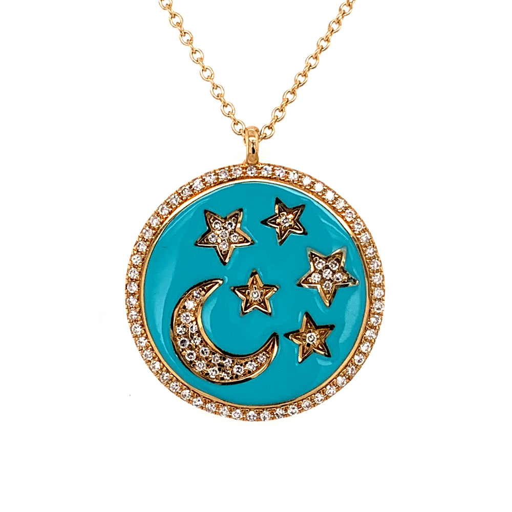 14KY Blue Enamel Star and Moon Diamond Necklace