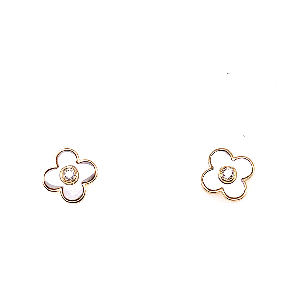 14K Yellow Gold Mother of Pearl and Diamond Clover Studs