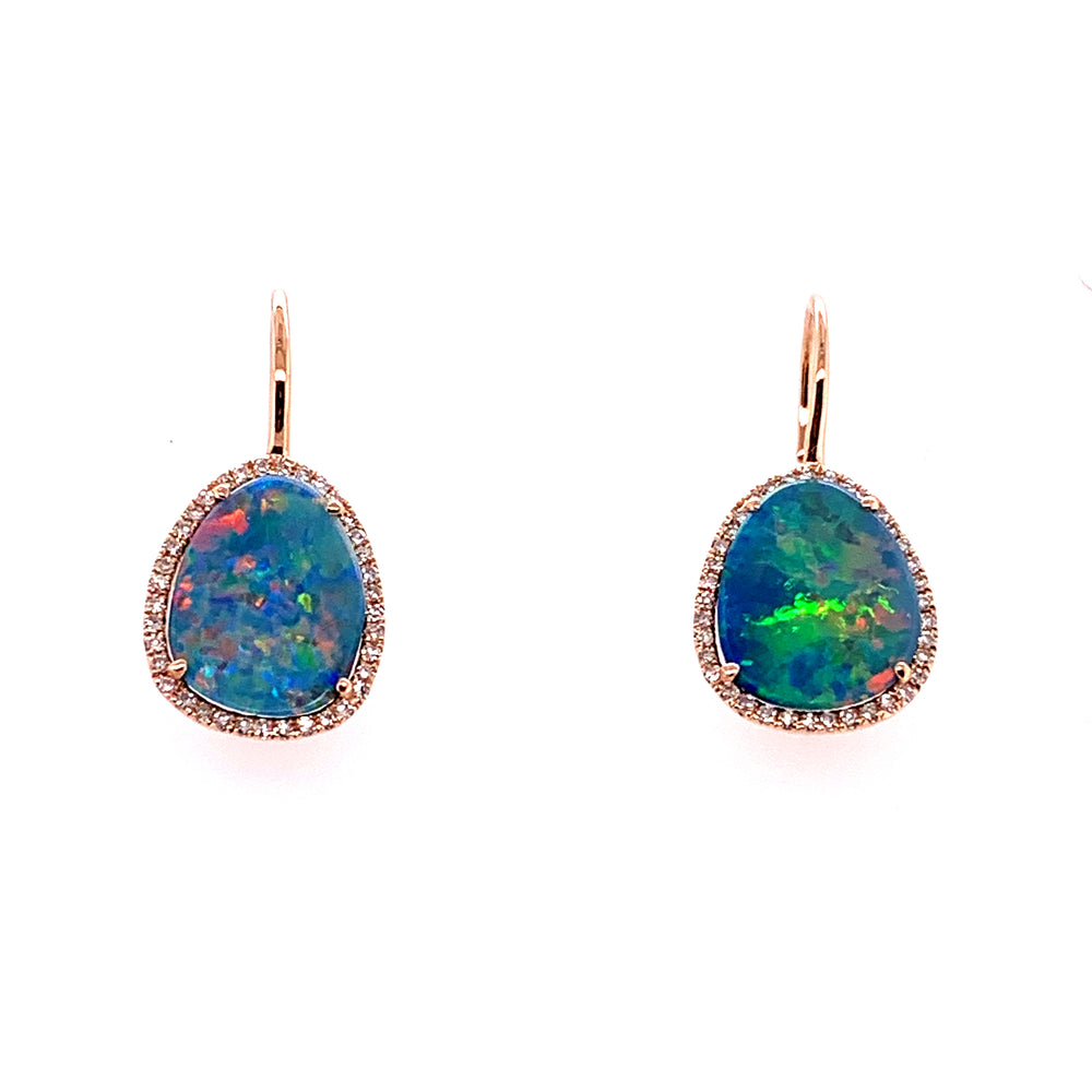 14K Rose Gold Opal and Diamond Earrings