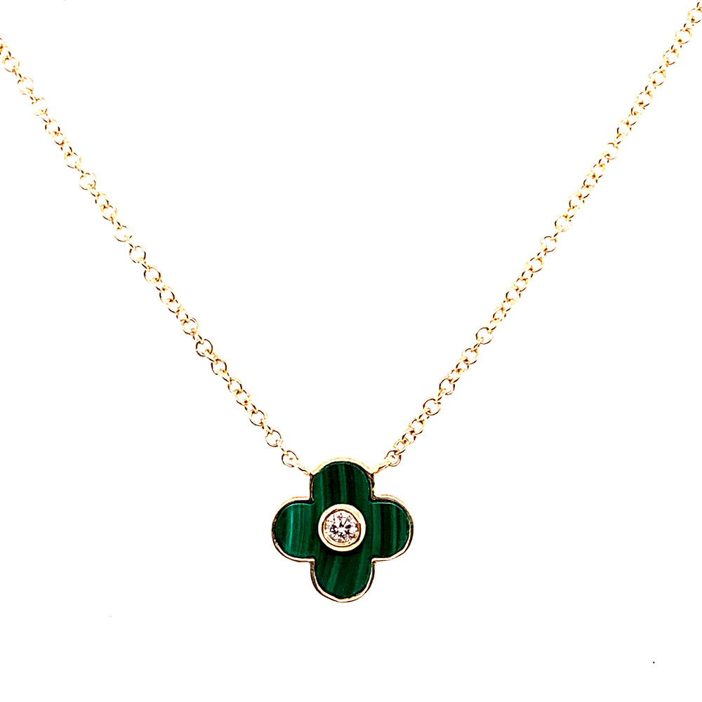 14K Yellow Gold Malachite and Diamond Clover Necklace