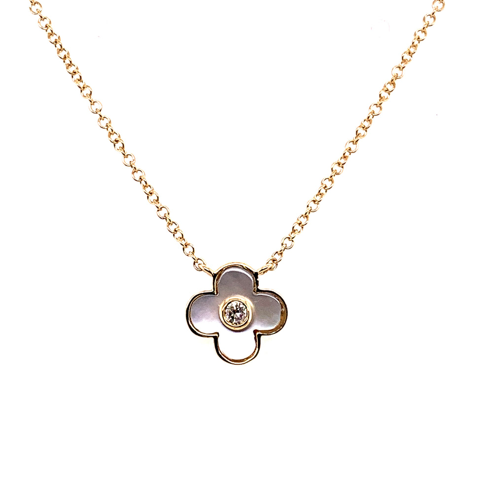14K Yellow Gold Mother of Pearl and Diamond Clover Necklace