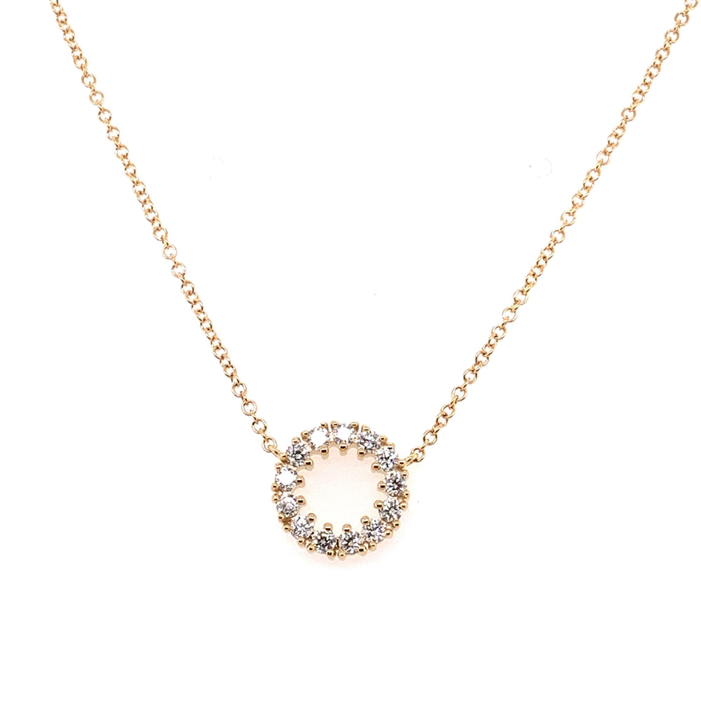 14K Yellow Gold and Diamond Open Disc Necklace