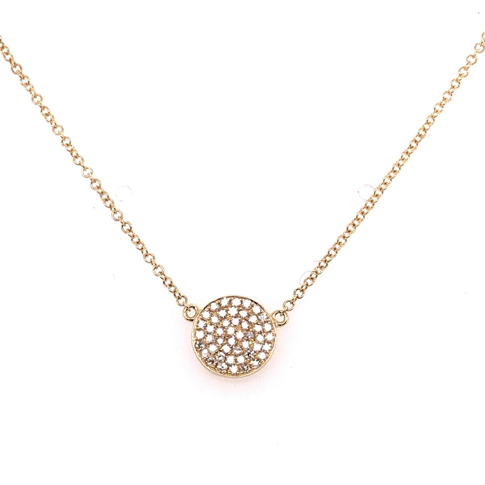 14K Yellow Gold Diamond Cluster Necklace