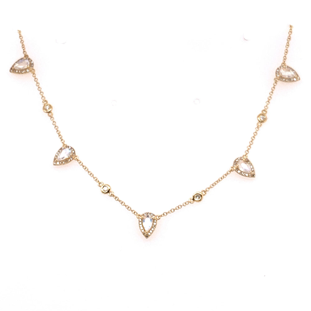 14K Yellow Gold Pear Moonstone and Diamond Station Necklace