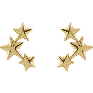 Gold Star Climber Earrings