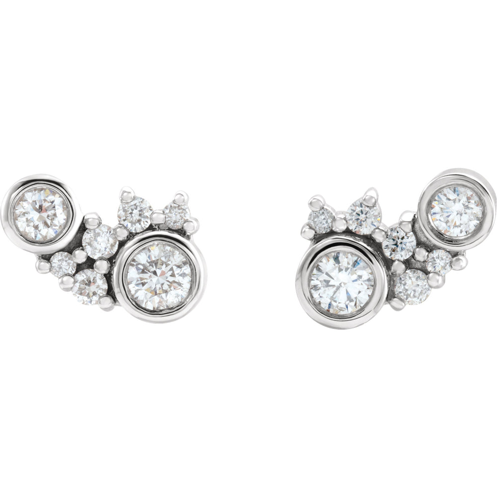 Diamond Scatter Cluster Earrings