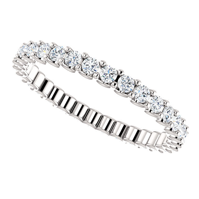 3/4ct 14k Diamond Eternity Band with Scalloped Style Shared Prongs