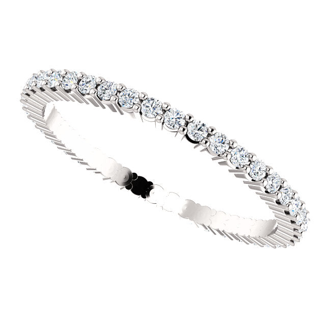 14k Low Profile Diamond Eternity Band with Shared Prongs