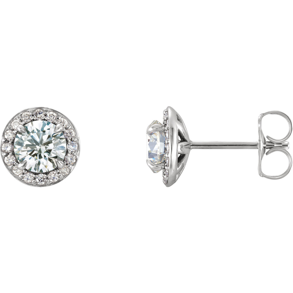 White Sapphire and Diamond Halo Earrings