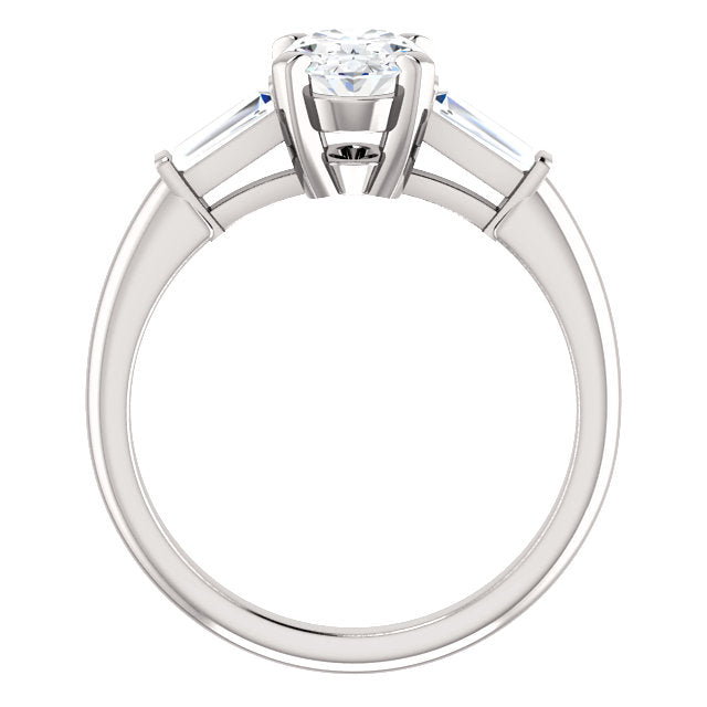 The Zara - Oval Diamond Engagement Ring with Side Stones