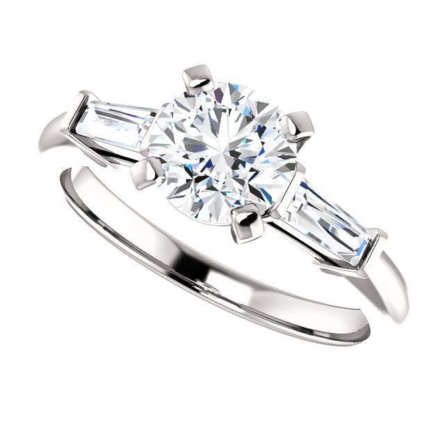 The Zara - Round Diamond Engagement Ring with Side Stones