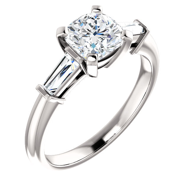 The Zara Cushion Cut Diamond Engagement Ring With Side Stones