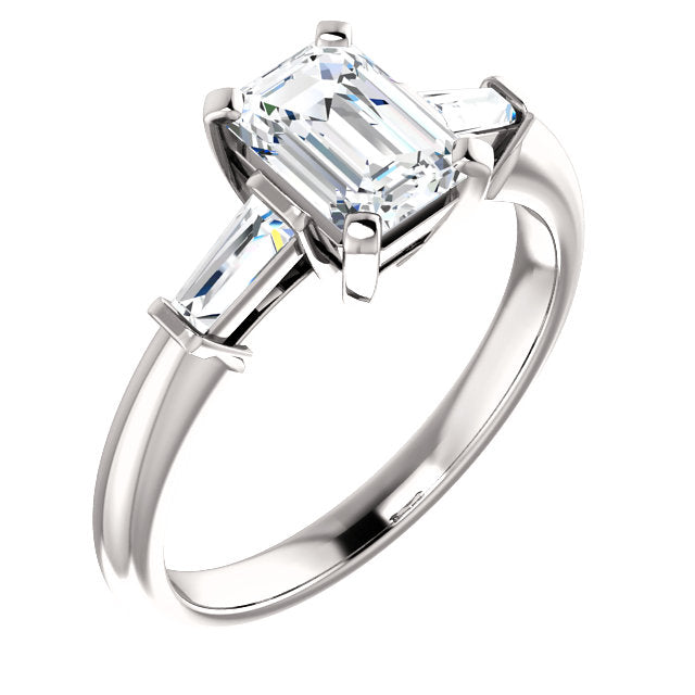The Zara - Emerald Cut Diamond Engagement Ring with Side Stones