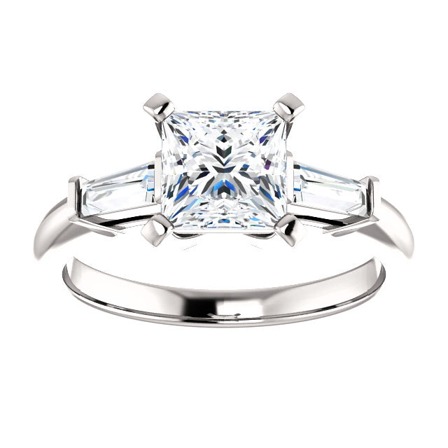 The Zara - Princess Cut Diamond Engagement Ring with Side Stones