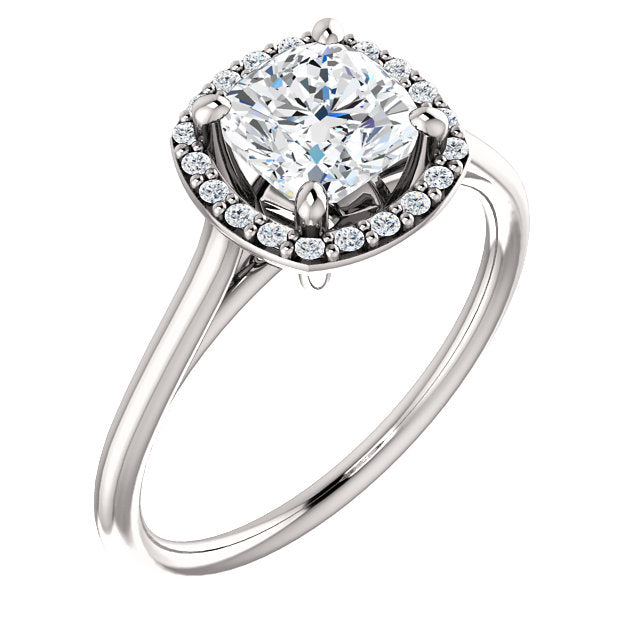The Sadie - Cushion Cut Halo Diamond Engagement Ring