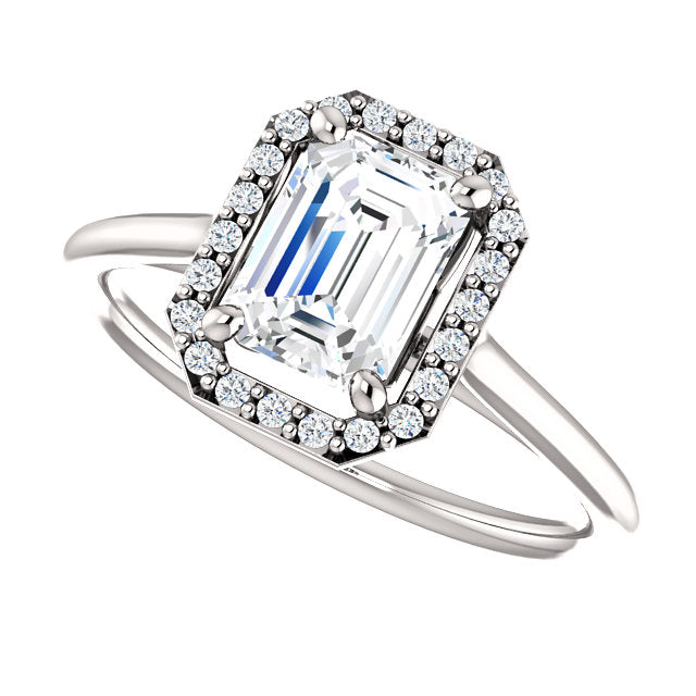 The Sadie - Emerald Cut Halo Diamond Engagement Ring