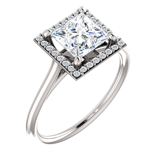 The Sadie - Princess Cut Halo Diamond Engagement Ring