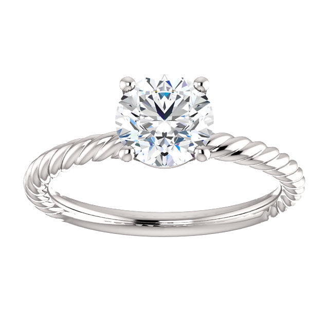 The Rose - Solitaire Round Diamond Engagement Twisted Rope Ring