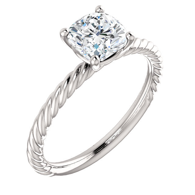 The Rose - Solitaire Cushion Cut Diamond Engagement Twisted Rope Ring