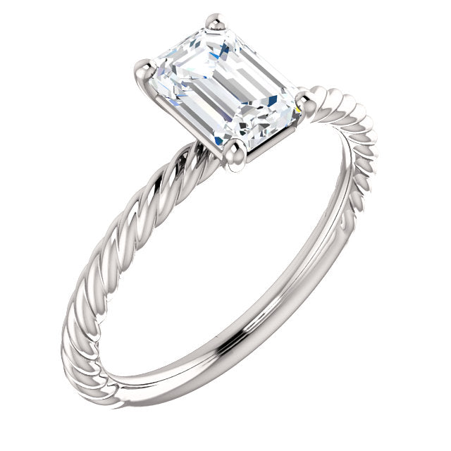 The Rose Solitaire Emerald Cut Diamond Engagement Twisted Rope Ring Johnsen Diamond