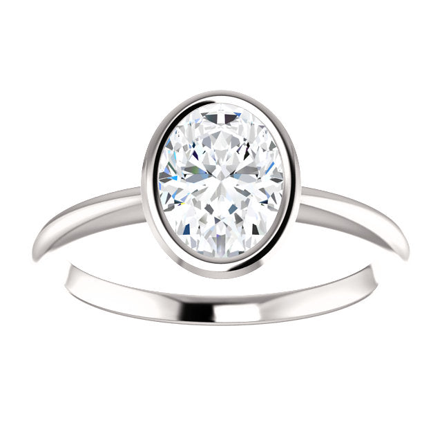 The Gemma - Solitaire Oval Diamond Engagement Ring Bezel Set