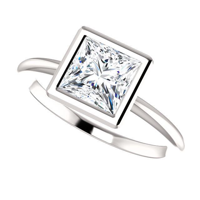 The Gemma - Solitaire Princess Cut Diamond Engagement Ring Bezel Set