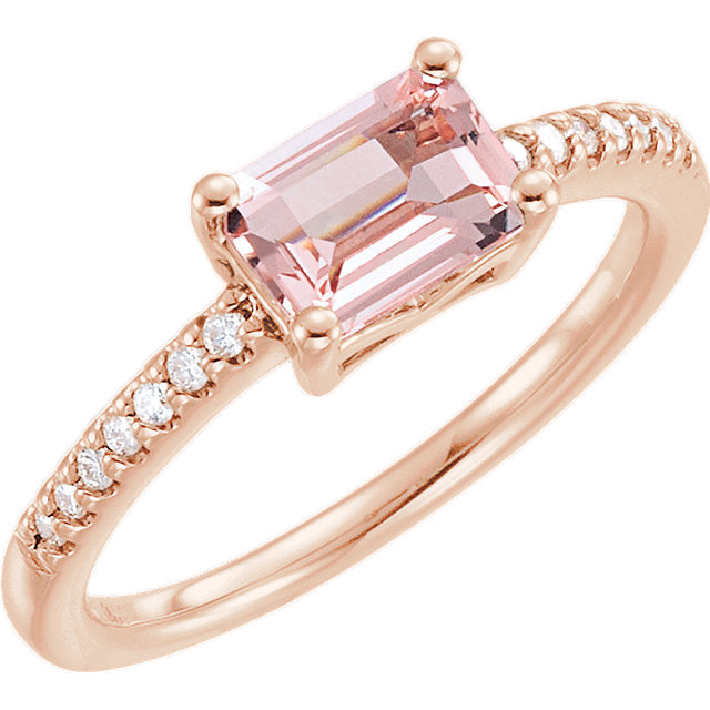 Emerald Cut Morganite and Rose Gold Ring