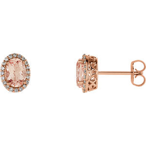 Oval Morganite and Diamond Earrings