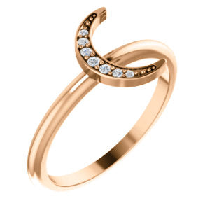 Diamond Stackable Crescent Moon Ring
