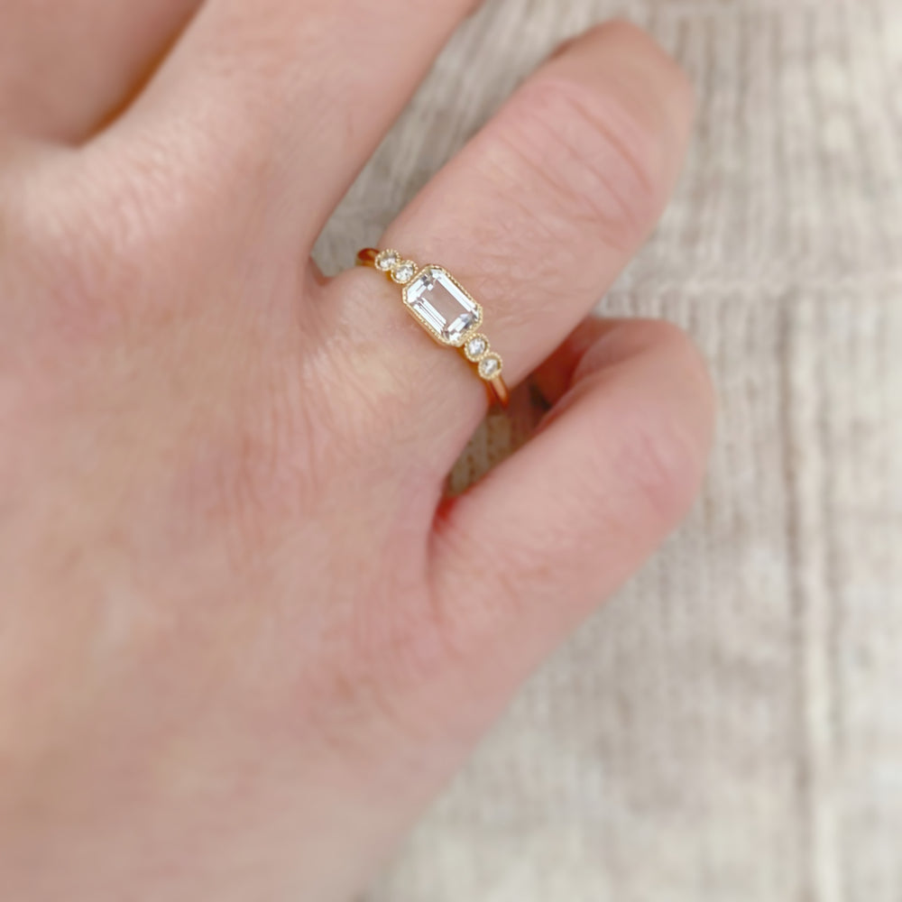 14K Yellow Gold Emerald Cut White Topaz and Diamond Ring
