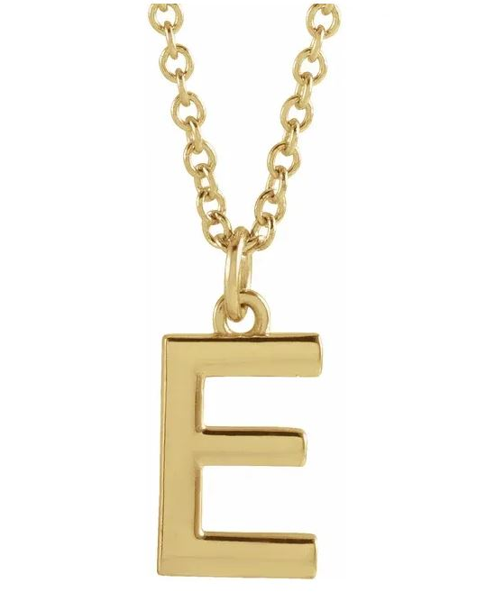 14K Gold Dangle Initial Necklace
