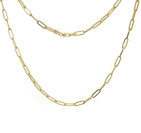 14K Gold Paper Link Necklace