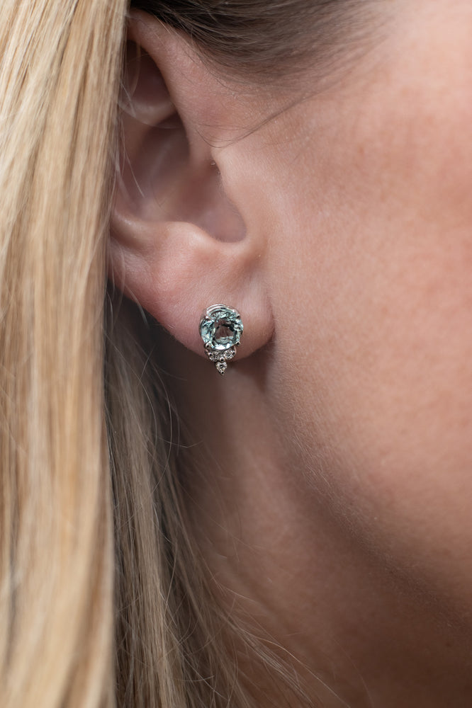 14K White Gold Aquamarine and Diamond Studs
