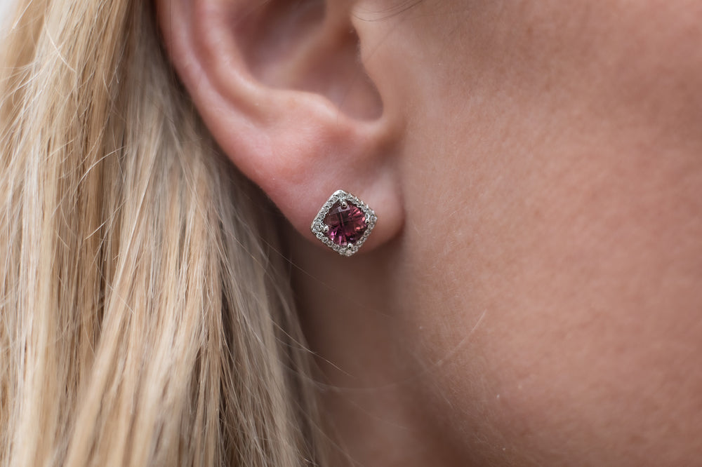 14K Whit Gold Pink Topaz and Diamond Halo Stud Earrings