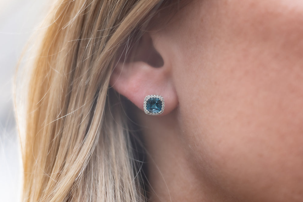 14K White Gold Cushion London Blue Topaz and Diamond Halo Stud Earrings