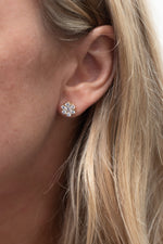 14K Yellow Gold Diamond Flower Studs