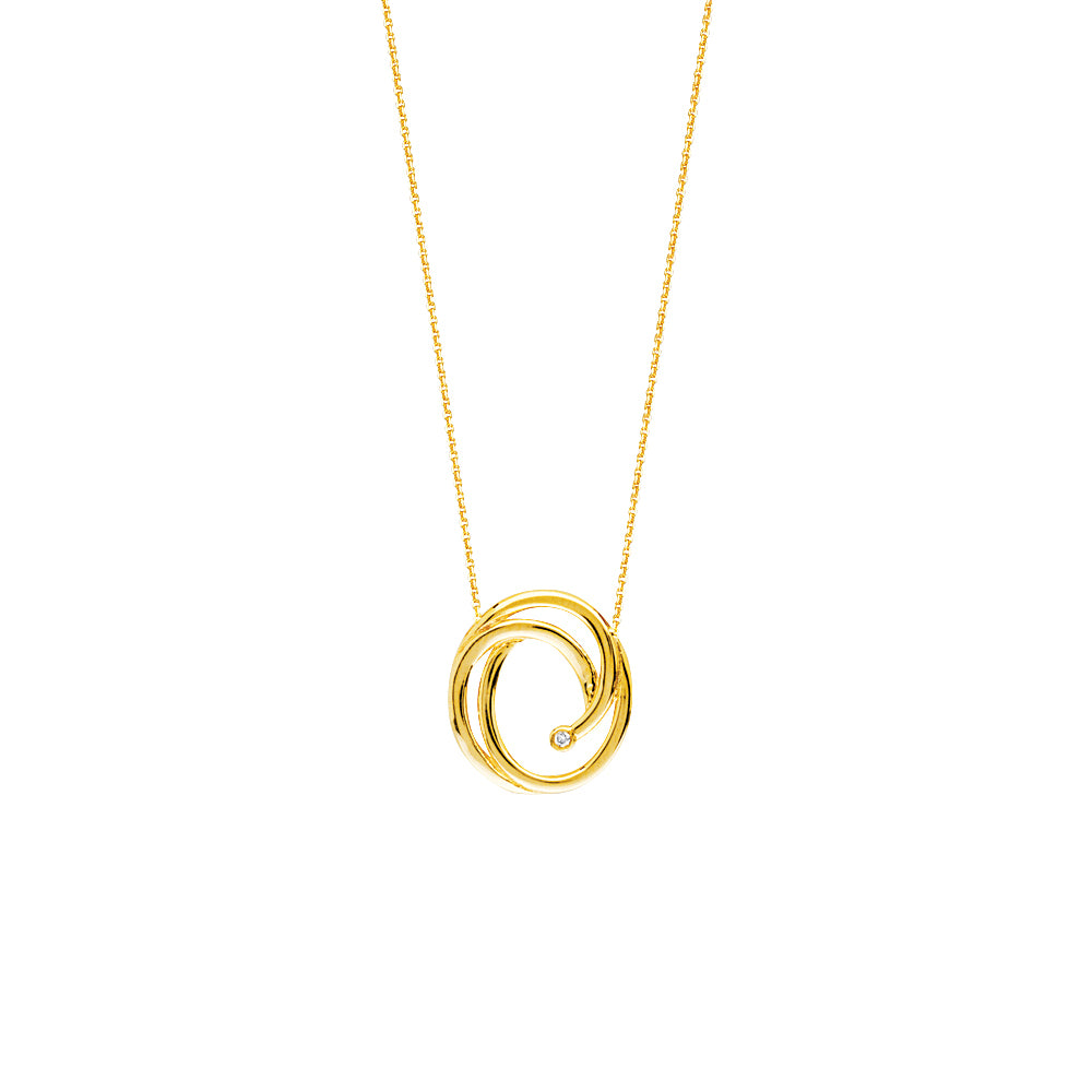14K Yellow Gold and Diamond Swirl Necklace