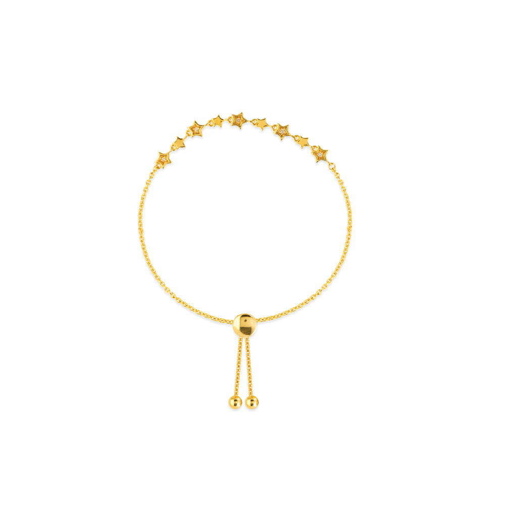 Yellow Gold and Diamond Star Bolo Bracelet