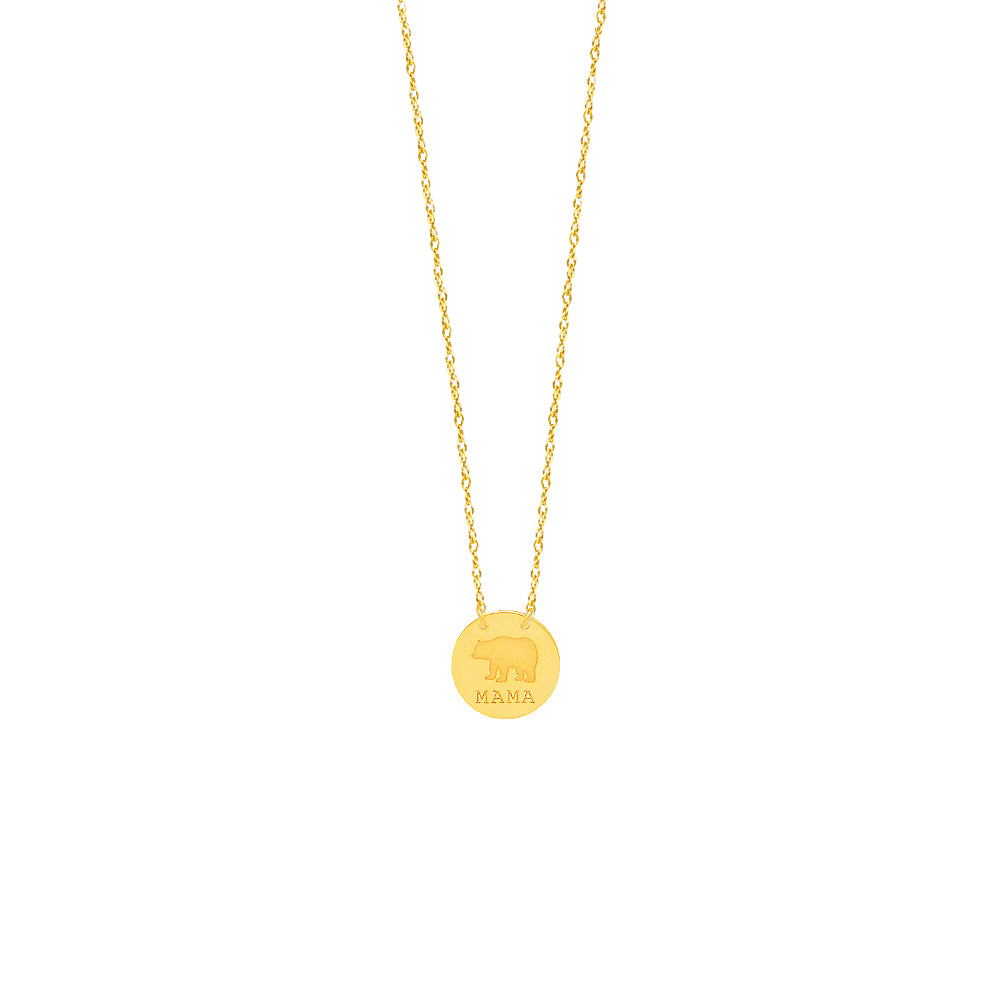 14K Yellow Gold Mama Bear Necklace