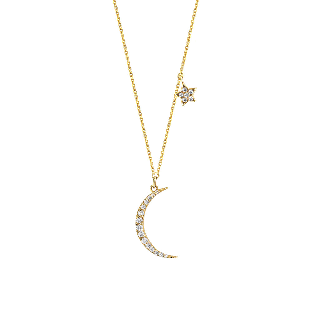 14K Yellow Gold Diamond Crescent and Star Necklace
