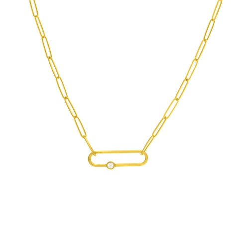 14K Yellow Gold Paper Clip and Diamond Necklace
