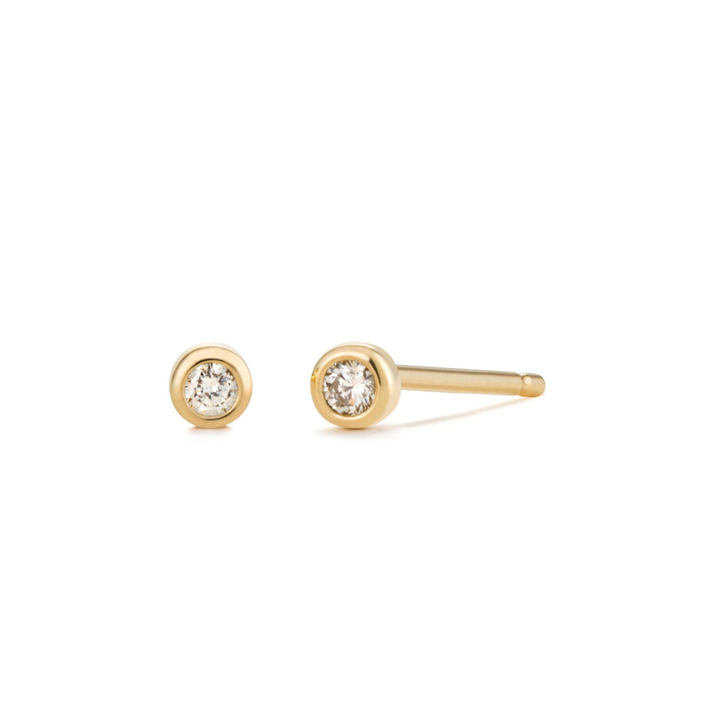 14K Yellow Gold Diamond Bezel Studs