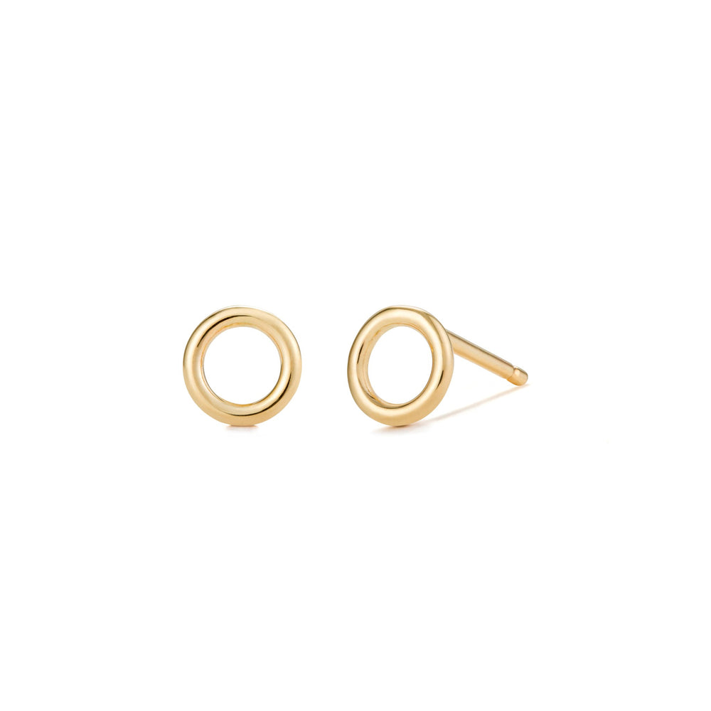 14K Yellow Gold Open Circle Studs